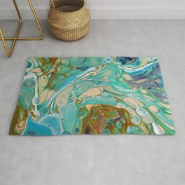 Colorful Blue Fluid Acrylic Painting Rug