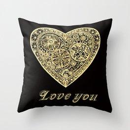 golden heart I love you Throw Pillow