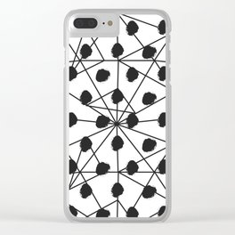 Geometrical black white watercolor polka dots Clear iPhone Case