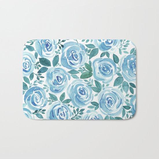 Pale blue roses . Watercolor . Bath Mat