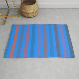 Line pattern 4 - Orange , blue , purple and brown Rug