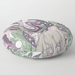 Jurassic Portal   Purple Haze Palette   Dinosaur Science Fiction Art Floor Pillow