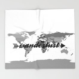Wanderlust Black and White Map Throw Blanket