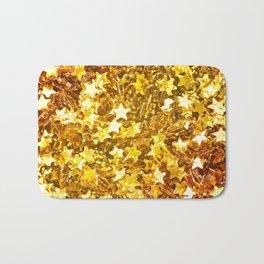 Glittering Golden Stars Bath Mat