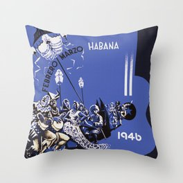 Vintage Havana Cuba Carnival 1946 Throw Pillow