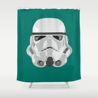storm trooper Shower Curtains featuring Storm Trooper by Inza Vita
