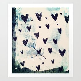Black Hearts Art Print