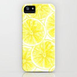 Lemon slices pattern watercolor iPhone Case