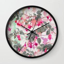 Rainbow Fuchsia Floral Pattern - with grey Wall Clock