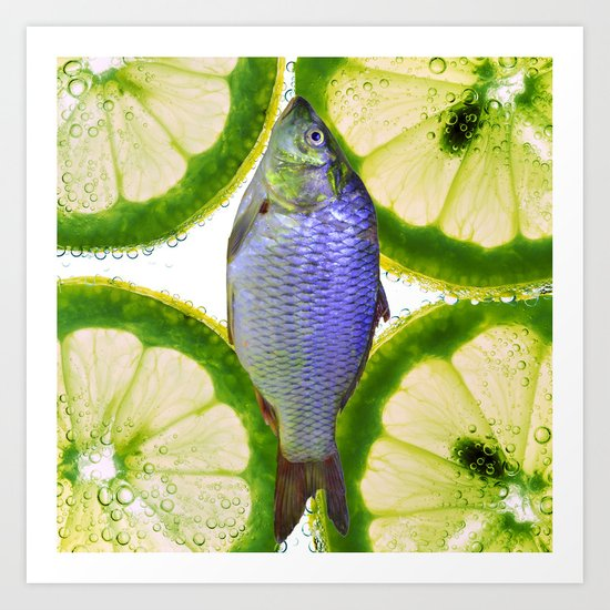 Lime Fish Art Print
