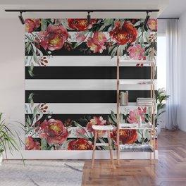 Deep-red garden flowers & black stripes Wall Mural