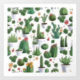 Succulent Cacti Art Print