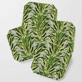 Palms on Stitch Pattern - Blue White Gold Coaster