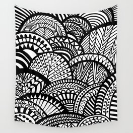 Black Tropical Ethnic Print Wall Tapestry