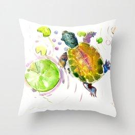 Swimming little cute turtle children nursery art Throw Pillow