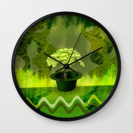 Abstract St Patrick day clover in a hat Wall Clock