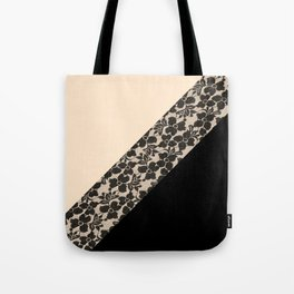 Elegant Peach Ivory Black Floral Lace Color Block Tote Bag