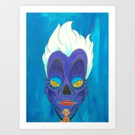 Ursula from THE LITTLE MERMAID Day of the Dead (Dias De Los Muertos) Skull Painting on Canvas Art Print