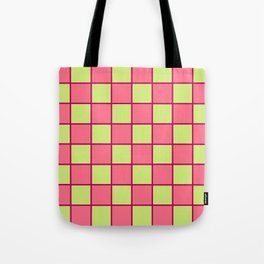 Rose Pink & Pale Green Chex  Tote Bag