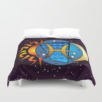 astrology Duvet Covers featuring Astrology, fish by Karl-Heinz Lüpke