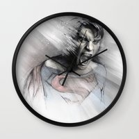 superheroes Wall Clocks featuring Superheroes SF by Alexis Marcou