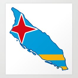 Aruba Map with Aruban Flag Art Print
