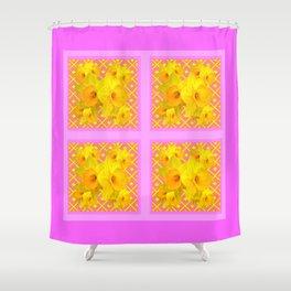 Fuchsia Quatre Panel Daffodil Pattern Shower Curtain