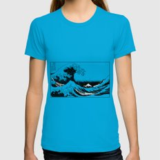 Kanagawa Oiled Teal Womens Fitted Tee SMALL