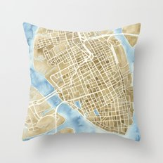 Charleston, South Carolina City Map Art Print Throw Pillow