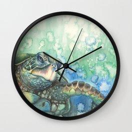 Sea Turtle Glides Wall Clock
