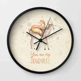 You are my adventure- fox and deer in winter- merry christmas Wall Clock