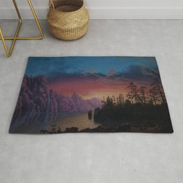 Sunset in California landscape painting by Gilbert Munger Rug