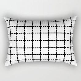Dotted Grid Black on White Rectangular Pillow