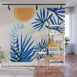 Blue Morocco Whimsy - Sunny Garden Art Wall Mural