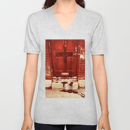 Bloody Cross Door Unisex V-Neck