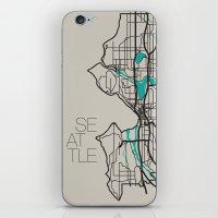 seattle iPhone & iPod Skins featuring Seattle by linnydrez