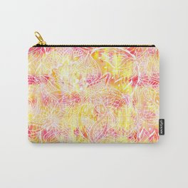 Modern pink orange tie die watercolor pattern white hand drawn floral mandala pattern Carry-All Pouch