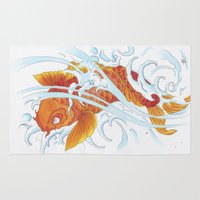 koi fish Area & Throw Rugs featuring Koi Fish by Isotta Pavarin