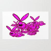 bunnies Area & Throw Rugs featuring Bunnies by Christa Bethune Smith