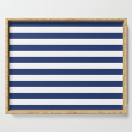 Horizontal Navy Stripes Pattern Serving Tray