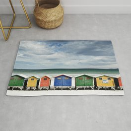 Beach Huts - Colorful houses and Sea, Cape Town, South Africa Rug