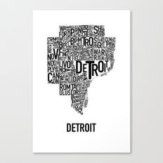 Detroit Typography map poster - White Canvas Print