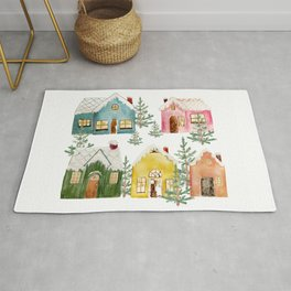 Colorful Winter Cottages Rug