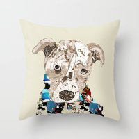 pit bull Throw Pillows featuring a pit bull day by bri.buckley
