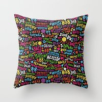 acid Throw Pillows featuring Acid! by Barney Ibbotson