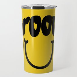 Groovy Smile // Black Smiley Face Fun Retro 70s Hippie Vibes Mustard Yellow Lettering Typography Art Travel Mug
