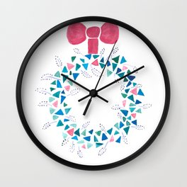 Pink and blue Christmas wreath Wall Clock