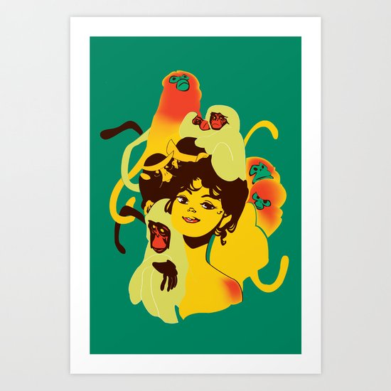 Girl with Monkeys Art Print
