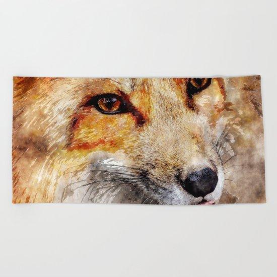 Cute Fox  animal nature watercolor illustration Beach Towel