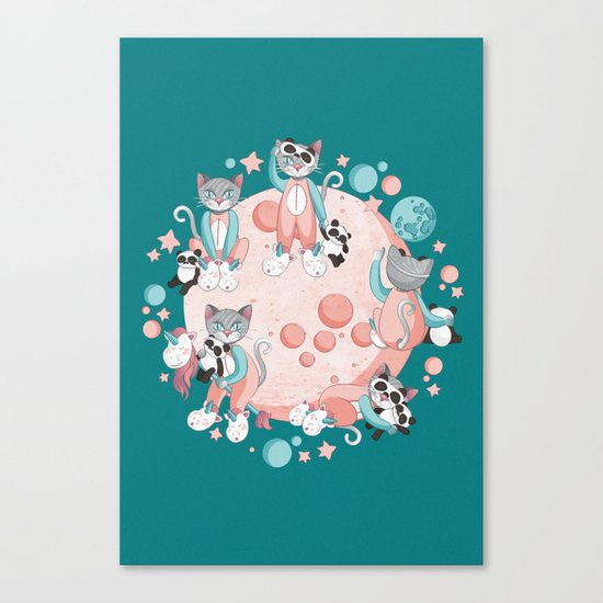 Cats, pandas and unicorns I Canvas Print
